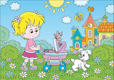 Little girl walking with her toy baby buggy and a small puppy in a park of a town on a sunny summer day, cartoon illustration Illustration