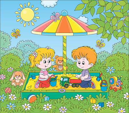 Small children playing in a sandbox on a playground in a park on a sunny summer day, cartoon illustration Illustration