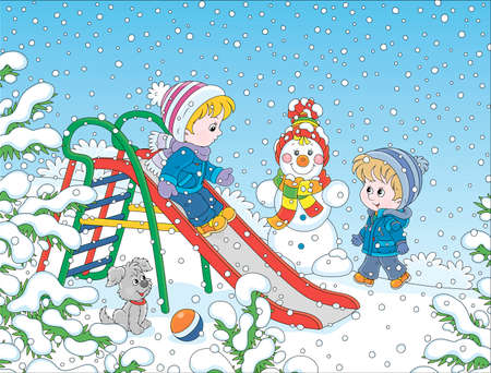Kids playing on a toy slide on a snow-covered playground in a winter park on a snowy day, cartoon illustration