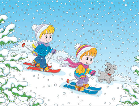 Small children skiing down a snow hill in a snow-covered winter park, cartoon illustration Illustration