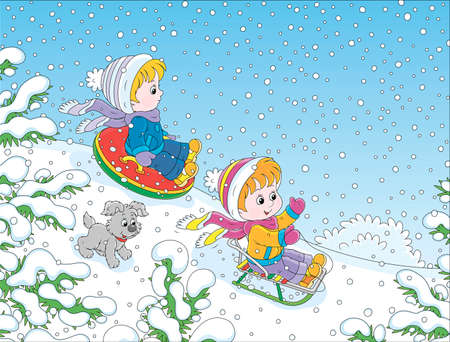 Small children sledding down a snow hill in a snow-covered winter park, cartoon illustration