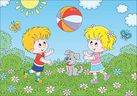 Little children playing a big colorful ball on a playground in a summer park, cartoon illustration Illustration