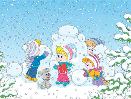 Small children building a snow fortress on a playground in a winter snow-covered park, cartoon illustration Illustration