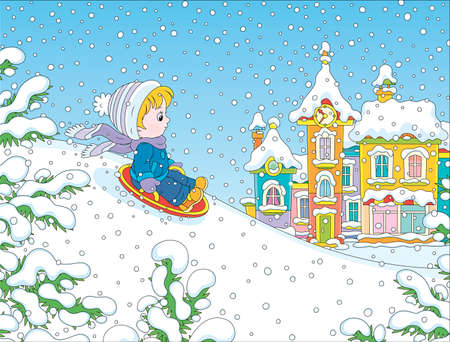 Small child sledding down a snow hill on a playground in a winter park of a town, cartoon illustration Illustration