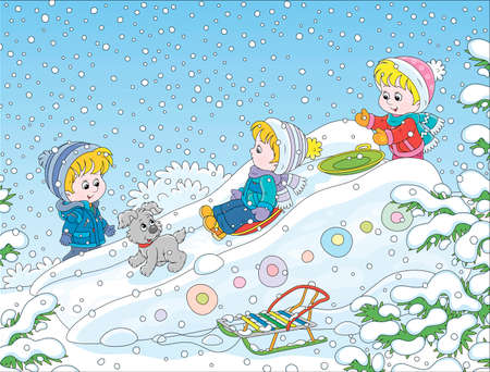 Children playing on an ice slide on a snow-covered playground in a winter park, cartoon illustration Illustration