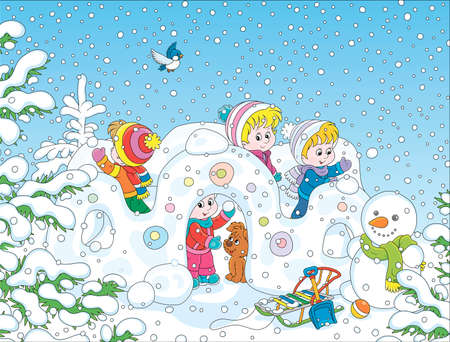 Small children playing in their toy snow fortress on a playground in a winter snow-covered park, cartoon illustration