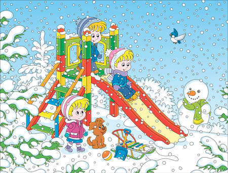 Little children playing on a slide at a snow-covered playground in a winter park on a snowy day, cartoon illustration