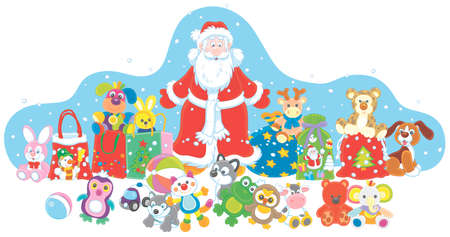 Santa Claus with his magic gift bag, colorful toys and wonderful presents on the snowy night before Christmas, vector cartoon illustration on a white background