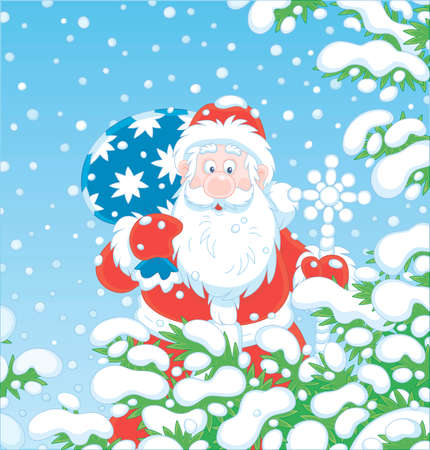 Santa Claus with his magic bag of Christmas gifts among snow-covered fir branches of a winter forest on the cold snowy day, vector cartoon illustration
