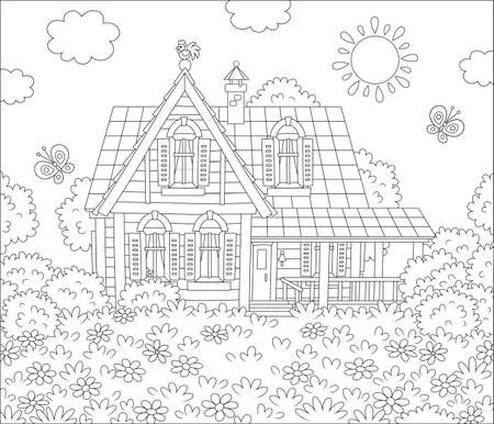 Small village house and a lawn with flowers and flittering butterflies on a sunny summer day, black and white outlined vector cartoon illustration for a coloring book page Vettoriali