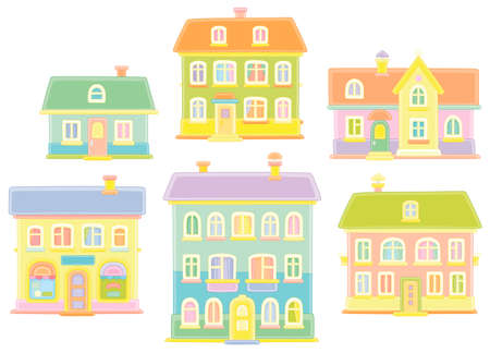 Toy colorful town houses, vector cartoon illustrations on a white background