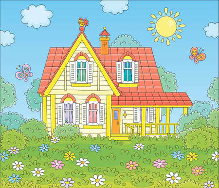 Colorful village house and a green lawn with flowers and flittering butterflies on a sunny summer day, vector cartoon illustration