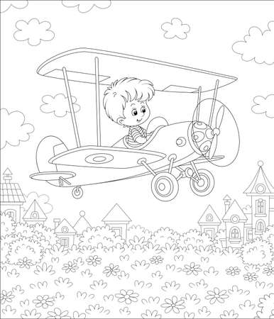 Little cheerful boy piloting his small toy plane among clouds in summer sky over a park near cute town houses on a sunny day, black and white outline vector cartoon illustration for a coloring book pa Vecteurs