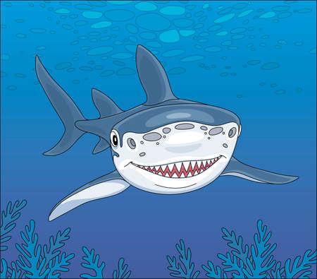 Shark swimming over a reef in blue water of a tropical sea, vector cartoon illustration