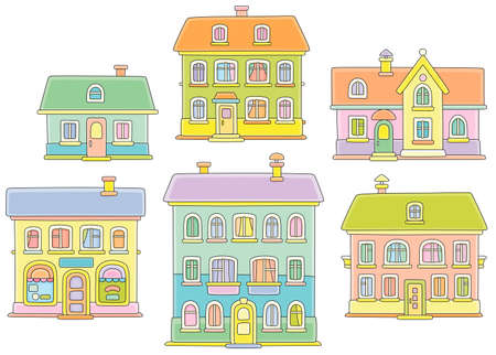 Toy colorful town houses, vector cartoon illustration on a white background