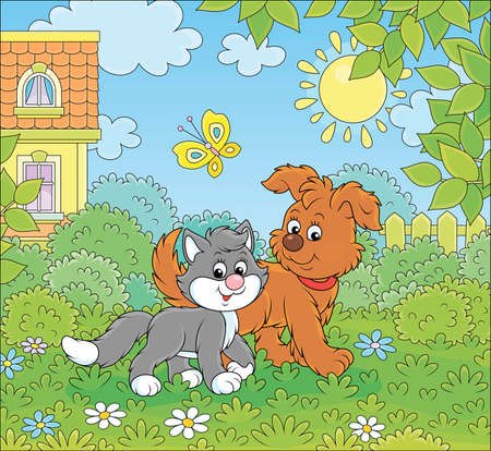Funny brown pup walking with a black and white kitten on a green lawn by a house on a sunny summer day, vector cartoon illustration Vettoriali