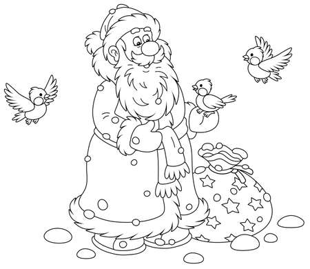 Santa Claus with his Christmas gift bag, smiling and playing with little cheerful birds flying around him, black and white outline vector cartoon illustration for a coloring book page