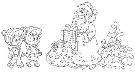 Santa Claus smiling and giving his magical Christmas presents to happy and merry small children, black and white outline vector cartoon illustration for a coloring book page