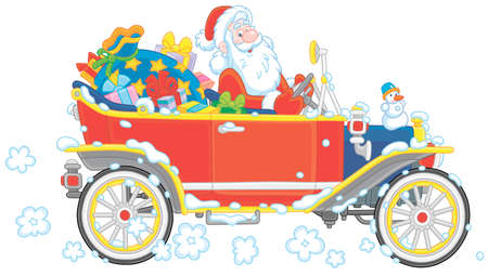 Santa Claus driving his old car with Christmas gifts for children, vector cartoon illustration on a white background Illustration