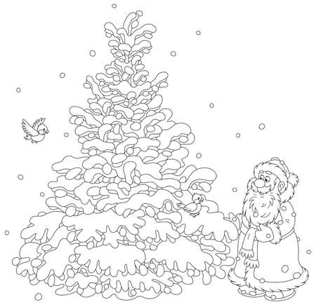 Santa Claus choosing a beautiful Christmas tree in a snowy winter forest, black and white outline vector cartoon illustration for a coloring book page  イラスト・ベクター素材