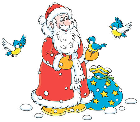 Santa Claus with his Christmas gift bag, smiling and playing with little cheerful birds flying around him, vector cartoon illustration on a white background