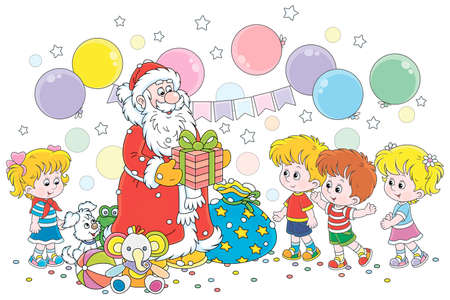 Santa Claus giving his magical Christmas presents to happy and merry children, vector cartoon illustration on a white background