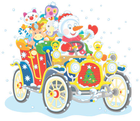 Smiling funny snowman driving a colorful old car with Christmas gifts for children on a snowy winter day, vector cartoon illustration isolated on a white background Vettoriali