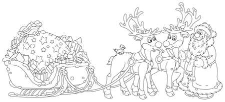 The night before Christmas, Santa Claus with a big bag of Christmas presents in his sleigh with reindeers beginning a magic journey around the world, black and white outline vector cartoon