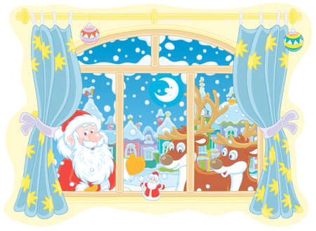 Santa Claus and his magic reindeer peeping into a room through a window with curtains on the snowy night before Christmas in a snow-covered small town, vector cartoon illustration