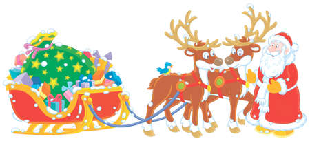 The night before Christmas, Santa Claus with a big bag of Christmas presents in his sleigh with reindeers beginning a magic journey around the world, vector cartoon illustration on a white background