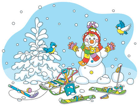 Cheerful small birds flying around a smiling cute toy snowman with a warm colorful scarf and a hat, skis and a sledge on a snowy playground in a white winter park, vector cartoon illustration  イラスト・ベクター素材