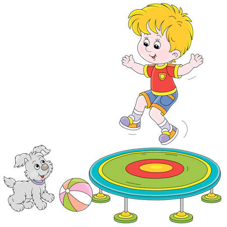 Happy little boy jumping on a toy trampoline on a playground, a small cute pup looking at him, vector cartoon illustration isolated on a white background
