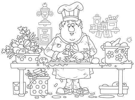 Funny fat cook in a chef hat and uniform, standing at his kitchen table and peeling fresh vegetables for cooking delicious meals, black and white outline vector cartoon illustration