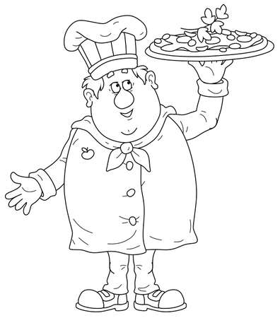 Smiling fat cook in a hat and uniform for cooking, standing and holding a round dish with a freshly baked tasty pizza with cheese, tomatoes and olives, black and white vector cartoon illustration