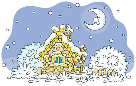 Smiling moon and a snow-covered small wooden house from a fairytale with rustic decorations, a porch and an old fence on a snowy and frosty winter night on Christmas Eve, vector cartoon illustration