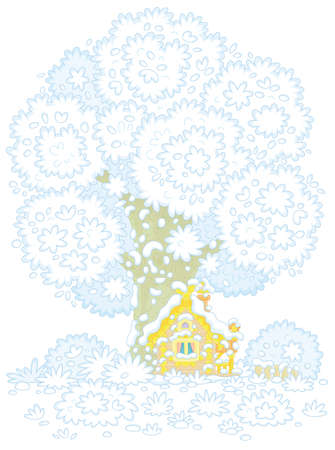 Snow-covered small wooden house from a fairytale with rustic decorations, a porch and an old fence under a big snowy tree on a pretty forest glade, vector cartoon illustration on a white background