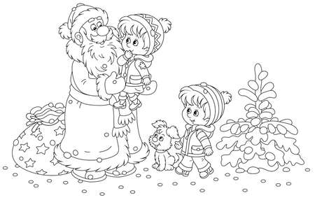 Santa Claus brought his bag of Christmas gifts for small children playing in a snowy winter park, the old magician smiling and holding a happy little girl in arms, black and white vector cartoon