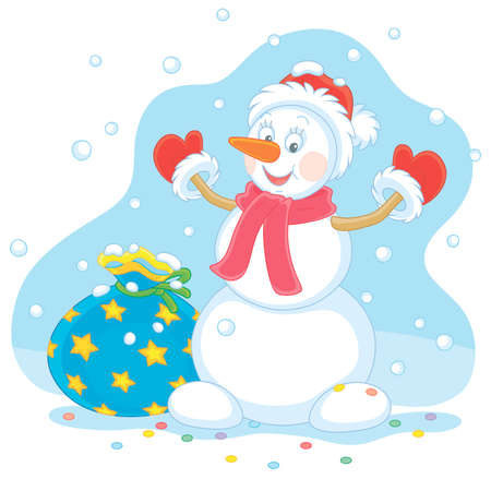 Friendly smiling funny snowman with a red hat, a warm scarf and mittens brought a big bag of Christmas gifts for little kids on a snowy winter day, vector cartoon illustration