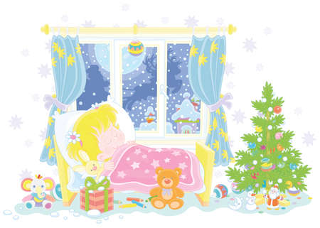 Cute little girl sleeping in her small bed on the night before Christmas, in a window of a nursery room magic reindeers flying Santa Claus with holiday gifts in his sleigh over snowy town