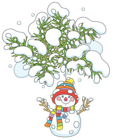 Funny toy snowman with a colorful striped scarf and a warm hat hanging on a snowy prickly fir branch of a decorated Christmas tree, vector cartoon illustration isolated on a white background