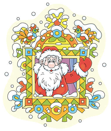 Santa Claus friendly smiling and waving his hand in greeting at a colorfully decorated window of a snowy old wooden house from a fairytale, vector cartoon illustration on white  イラスト・ベクター素材