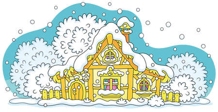 Snow-covered small wooden house from a fairytale on a snowy and frosty winter night on Christmas Eve, vector cartoon illustration isolated on a white background