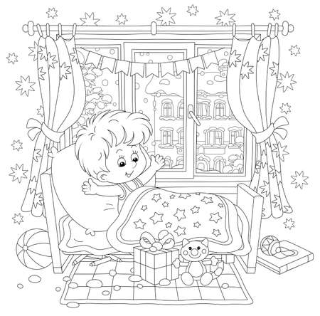 Happy and surprised little boy, waking up in his small bed, with holiday gifts and toys in a nursery room in a snowy winter morning, black and white vector cartoon for a coloring book page Illusztráció