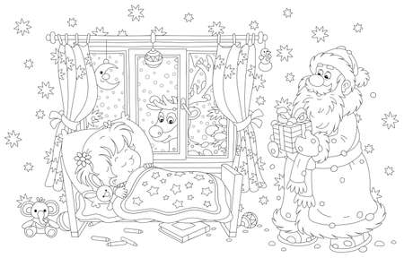 Santa Claus bringing a beautiful gift box to a cute little girl sleeping in a small bed on the snowy night before Christmas, a magic reindeer looking through a window of a decorated nursery room