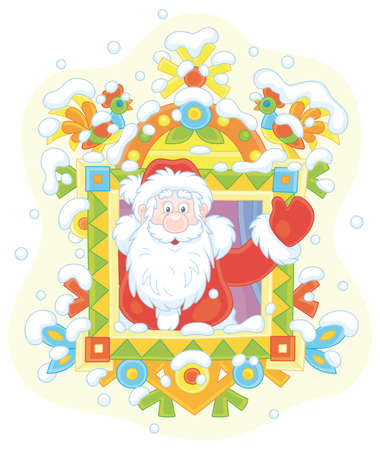 Santa Claus friendly smiling and waving his hand in greeting at a colorfully decorated window of a snowy old wooden house from a fairytale, vector cartoon illustration on white Иллюстрация