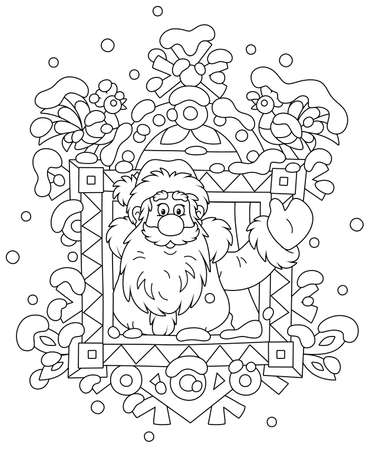 Santa Claus friendly smiling and waving his hand in greeting at a decorated window of a snowy old wooden house from a fairytale, black and white outline vector cartoon illustration