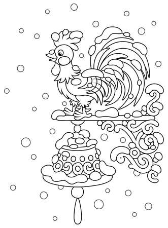 Weathercock, a weathervane in the form of a toy cockerel with a ringing hand bell on a wall of a house, under snow on a cold and snowy winter day, black and white vector cartoon illustration