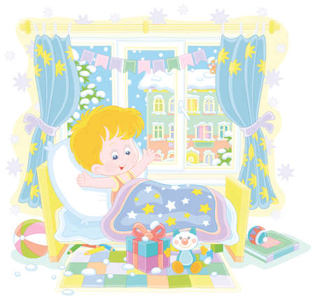 Happy and surprised little boy, waking up in his small bed, with colorful holiday gifts and toys in a nursery room in a snowy winter morning, vector cartoon illustration isolated on a white background Illusztráció