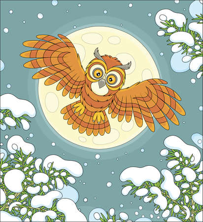 Brown striped owl with big round eyes flying in the moonlit winter sky over a snowy northern fir forest, vector cartoon illustration