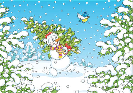 Friendly smiling snowman with a red hat, a warm scarf and mittens carrying a prickly green fir tree from a snowy winter forest to decorate it for Christmas and New Year